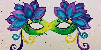 Mardi Gras Watercolor Masquerade Mask