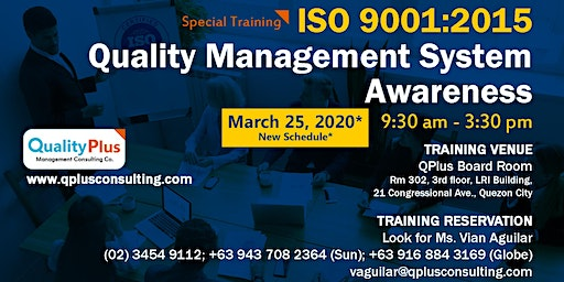 ISO 9001:2015 Quality Management System Awareness