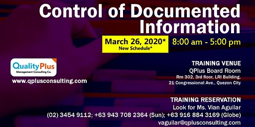 Control of Documented Information