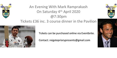 Reigate Priory Presents - An Evening With Mark Ramprakash tickets