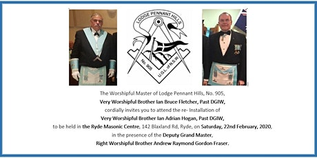 Re-installation of Very Worshipful Brother Ian Adrian Hogan, PDGIW tickets