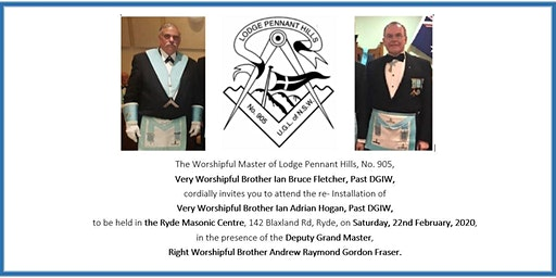 Re-installation of Very Worshipful Brother Ian Adrian Hogan, PDGIW
