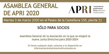 Asamblea General APRI 2020 entradas
