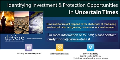 Identifying Investment & Protection Opportunities in Uncertain Times biglietti