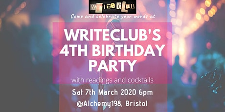 WriteClub's 4th Birthday Party - readings and cocktails tickets