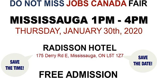 Mississauga Job Fair -  January 30th, 2020