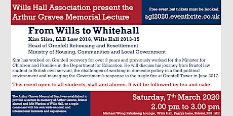 Wills Hall Association | Arthur Graves Memorial Lecture 2020 tickets