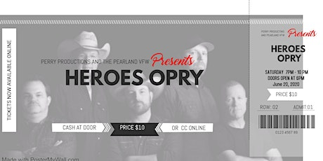 June 20, 2020 Heroes Opry at the Pearland VFW tickets