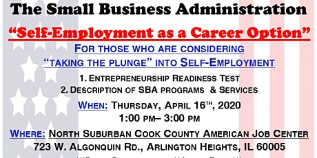 """Self Employment as a Career Option"" with the Small Business Administration tickets"