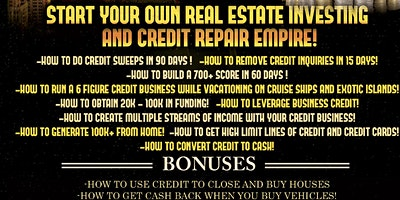 Start your own Real estate Investing and Credit Repair Business!