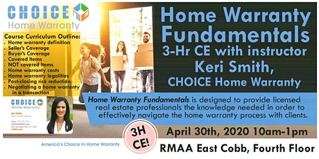 3-Hr CE Class: Home Warranty Fundamentals with Keri Smith, CHOICE Home Warranty tickets