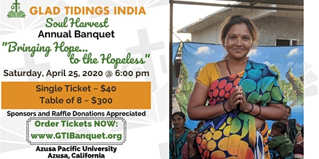 "Soul Harvest Banquet 2020: ""Bringing Hope to the Hopeless"" tickets"