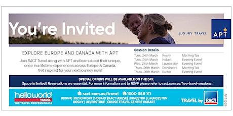 Explore Europe and Canada with RACT Travel & APT Luxury Travel tickets