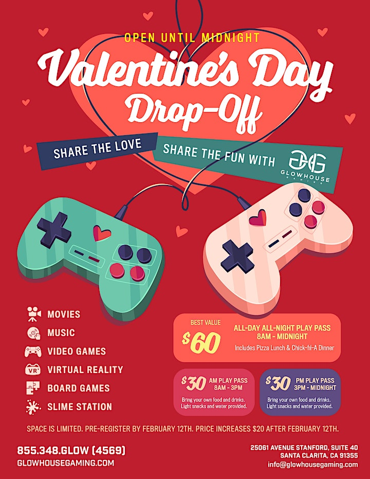 Valentine's Day Drop-Off at GlowHouse Gaming image