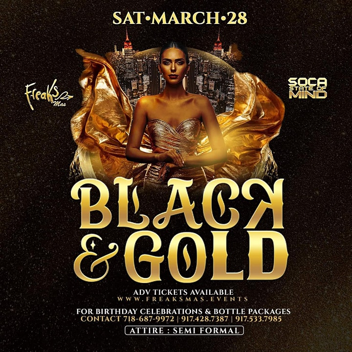 FREAKS MAS & SOCA STATS OF MIND -  BLACK & GOLD image