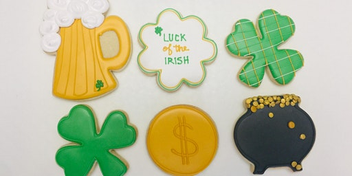 St. Patricks themed sugar cookie decorating class
