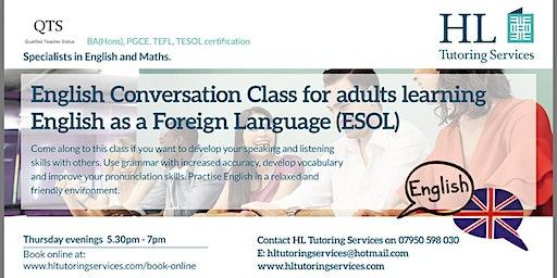 Winter 2 English Conversation Class for Adults ( E.S.O.L) X 5 Course