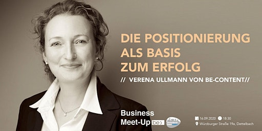 Die Positionierung als Basis zum Erfolg Verena Ullmann