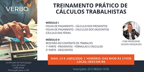 Treinamento - Prático de Cálculos Trabalhistas ingressos