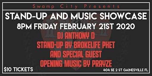Stand-Up & Music Showcase @ Swamp City Gallery Gainesville, FL
