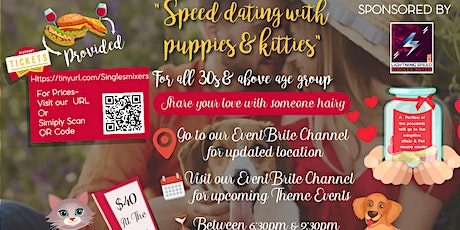 """Pet lovers Singles Get2gether"" for all 30s and over: Bring your own dog!  tickets"