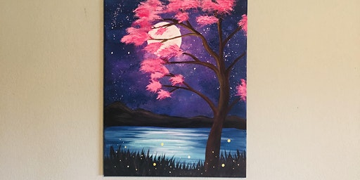 Cherry Blossom Moon Paint & Sip