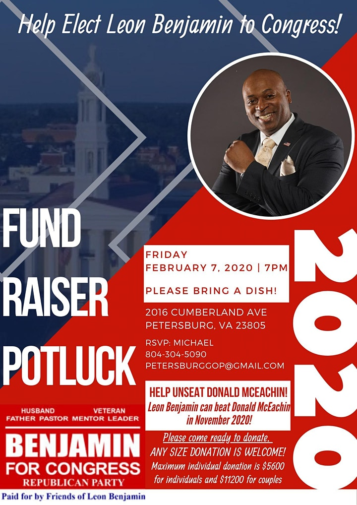 Fund Raiser For Congressional Candidate  VA-4 Leon Benjamin image