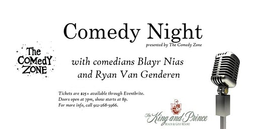 Comedy Night (Feb 29) at The King and Prince, presented by The Comedy Zone