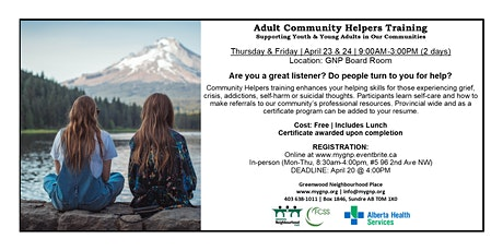 Adult Community Helpers Training tickets