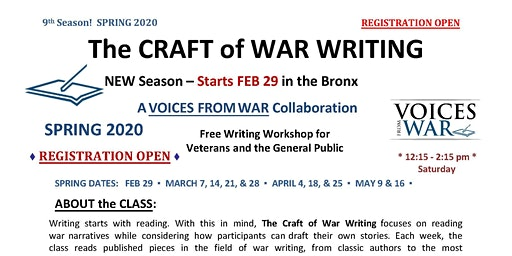 The CRAFT of WAR WRITING - Free Writing Workshop for Veterans and the Gener
