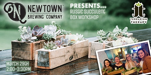 Rustic Succulent Box at  Newtown Brewing Company