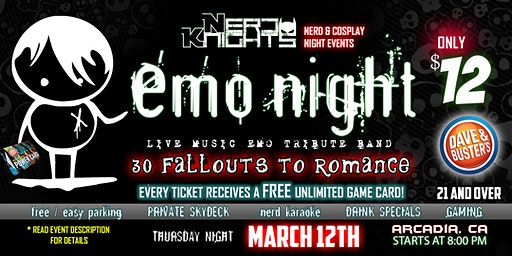 EMO NIGHT Music & Karaoke Party at Dave & Buster's