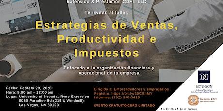 ESTRATEGIAS DE VENTAS, PRODUCTIVIDAD E IMPUESTOS tickets