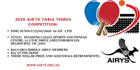 2020 AIRYS Table Tennis Competition tickets