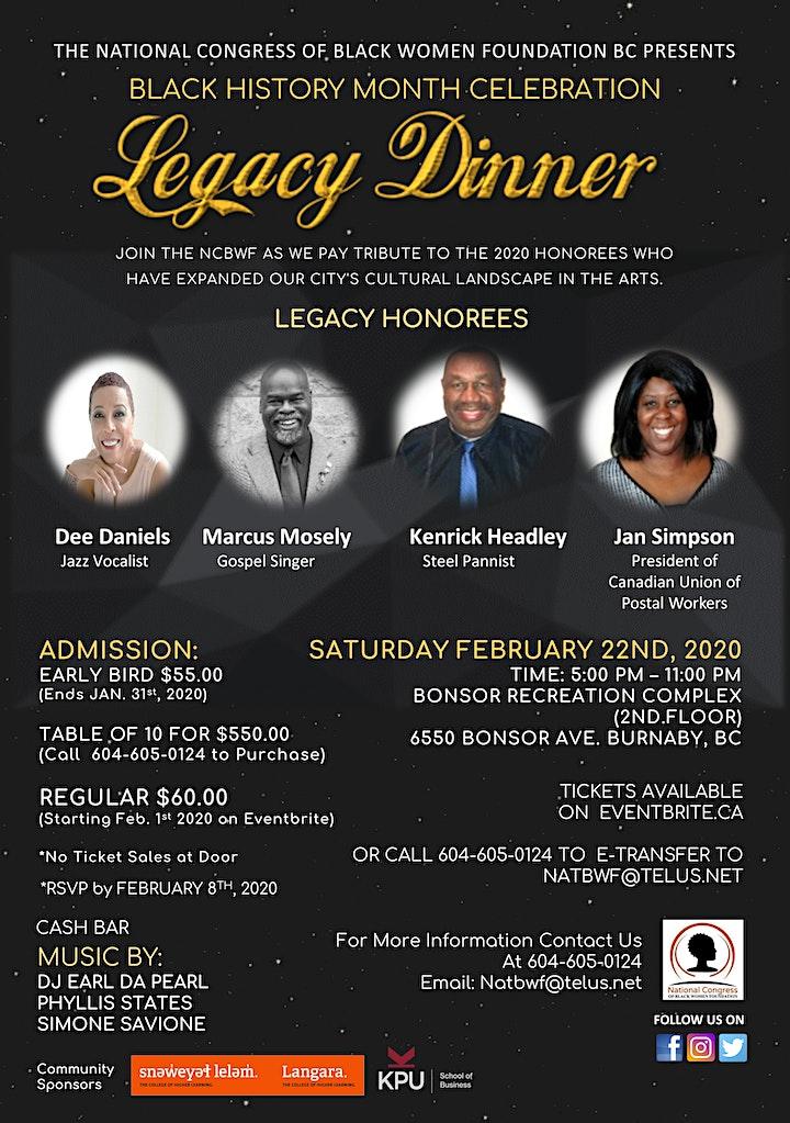 The NCBWF Present A Black History Month Celebration - Legacy Dinner 2020 image