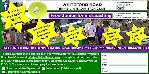 Free 6 week junior tennis coaching at Whiteford Road Tennis, Plymouth