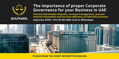The Importance of Corporate Governance for your Business in UAE tickets