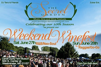 SECRET GARDEN WEEKEND WINEFEST - SUNDAY tickets