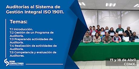 Curso Auditorias al Sistema de Gestión Integral ISO 19011 boletos