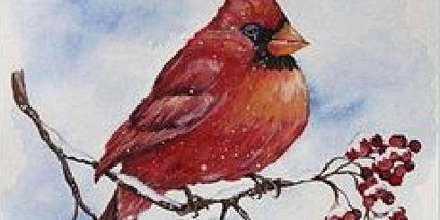 Cardinal on Branch with Berries