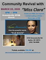 "Community Revival with ""Miss Clara"" Karen Abercrombie @ Ormondsville OFWB"