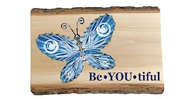 Butterfly String Art Wooden Sign Wine Art Maker Class
