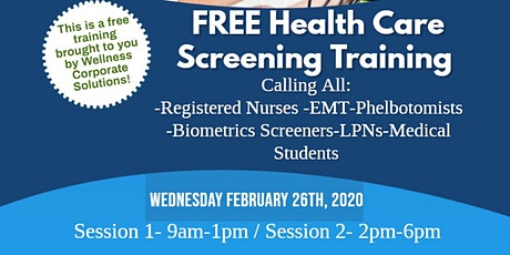 Health Care Screening Training tickets