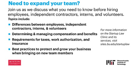 Expanding Your Team: Hiring Employees, Contractors, Interns, & Volunteers tickets