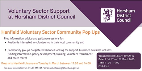 Henfield Community Pop Up - Volunteering and group support tickets