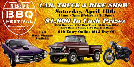 Car, Truck & Bike Show at the Interstate BBQ Festival 2020 April 18 Hagerstown, MD