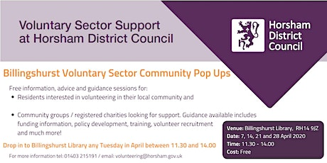 Billingshurst Community Pop up - Volunteering and group support tickets