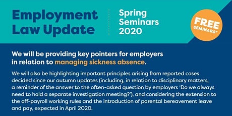 Employment Law Update - Spring 2020 Hereford tickets