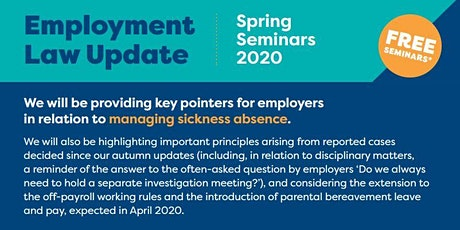 Employment Law Update - Spring 2020 Telford tickets