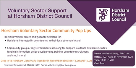Horsham Community Pop Up - Volunteering and group support tickets